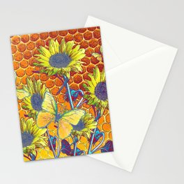GREY-YELLOW BUTTERFLIES & SUNFLOWERS ARTISTIC HONEYCOMB DRAWING Stationery Cards