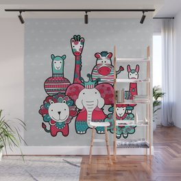 Doodle Animal Friends Pink & Grey Wall Mural