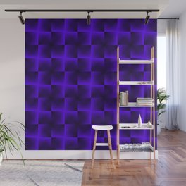 Rotated rhombuses of violet crosses with shiny intersections. Wall Mural