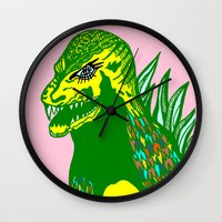dino Wall Clocks featuring Dino by intermittentdreamscapes