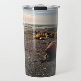coastline black sand shell new zealand happy feet Travel Mug