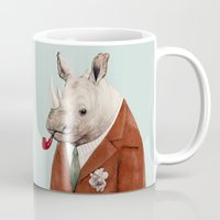 rhino Mugs featuring Rhino by Animal Crew