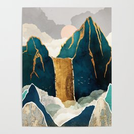 Golden Waterfall Poster