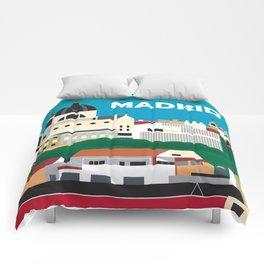 Madrid, Spain - Skyline Illustration by Loose Petals Comforters