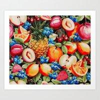 Watercolour Fruit - Bright Art Print