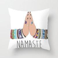namaste Throw Pillows featuring Namaste by Serra Kiziltas