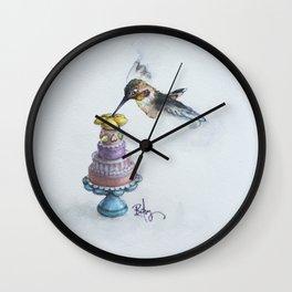 Rufio The Hummingbird Takes The Cake Wall Clock
