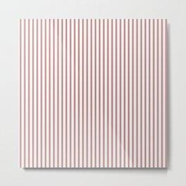 Vintage New England Shaker Barn Red Milk Paint Mattress Ticking Vertical Narrow Striped Metal Print