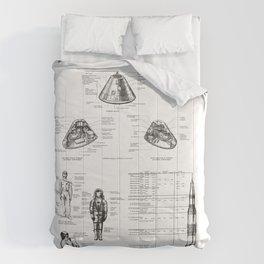 Apollo 11 Saturn V Command Module Blueprint in High Resolution (white) Comforters