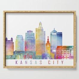 Kansas city skyline  landmarks  in watercolor Serving Tray