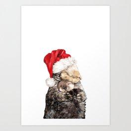 Christmas Otter Mother and Child Kunstdrucke
