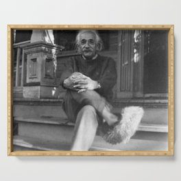 Albert Einstein in Fuzzy Slippers Classic Black and White Satirical Photography - Photographs Serving Tray