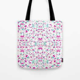 pink and mint green gold dot chip mosaic motif tile pattern boho mandala Tote Bag
