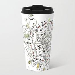 creepy funny spider web sketch Travel Mug