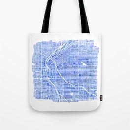Denver Blueprint City Map Watercolor Tote Bag