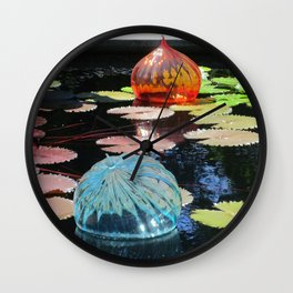Lily Pond and Glass Floaters Wall Clock