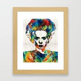 Frankenstein Bride Art - Colorful Monster Bride - By Sharon Cummings Framed Art Print