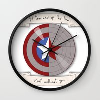 steve rogers Wall Clocks featuring Steve Rogers and Bucky Barnes Shield by Mallory Anne