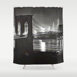 1940 Brooklyn Bridge Black and White City Night Scene Photograph Shower Curtain