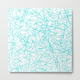 Ink Drawing Pattern, Teal Scribbles Metal Print