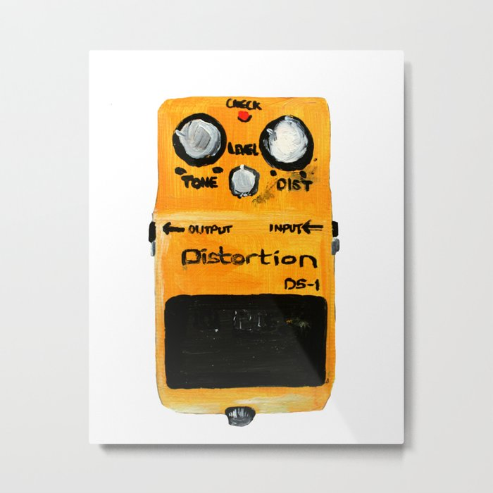 Guitar Distortion Pedal Acrylics On Paper (White Edit) Metal Print