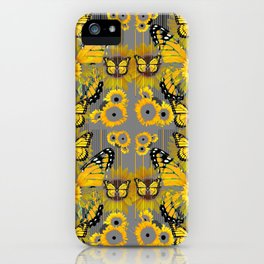 CONTEMPORARY MONARCH BUTTERFLY SUNFLOWERS MONTAGE iPhone Case