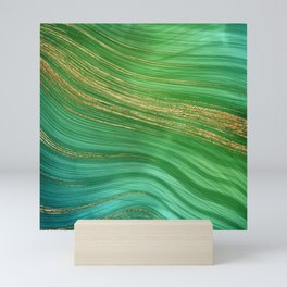 Green Mermaid Glamour Marble With Gold Veins Mini Art Print