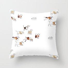 Beagles hunting Throw Pillow