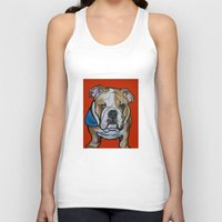 english bulldog Tank Tops featuring Johnny the English Bulldog by Pawblo Picasso