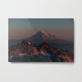 Pink Smokey Mountain with snow Metal Print