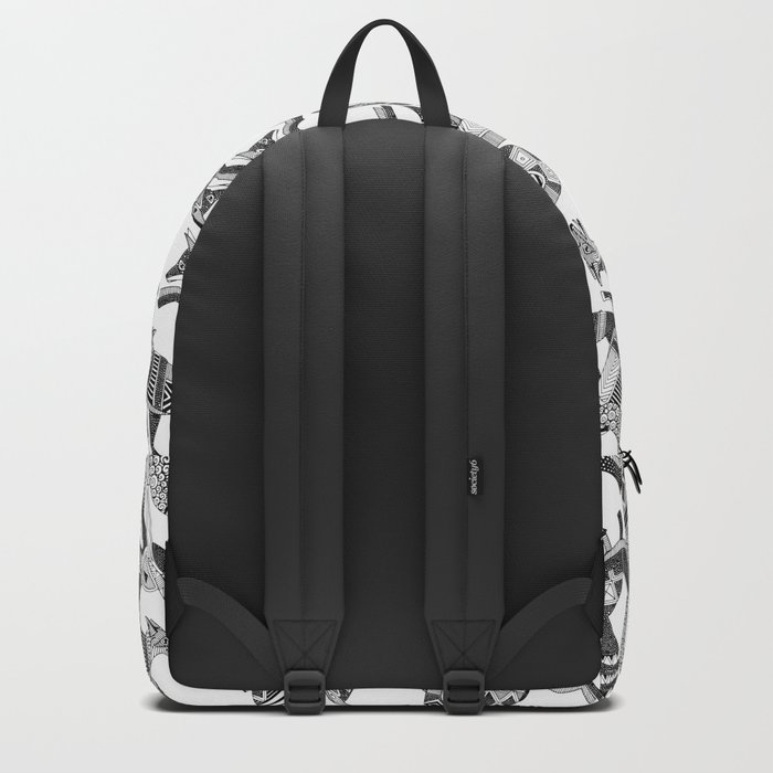 woodland fox party black white Backpack