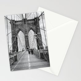 Brooklyn Bridge, New York City (rustic black & white) Stationery Cards