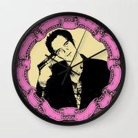 quentin tarantino Wall Clocks featuring Tarantino by Guido prussia