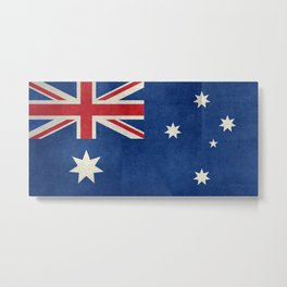 "Australian flag, retro ""folded"" textured version (authentic scale 1:2) Metal Print"