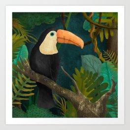 Toucan Bird in the Jungle Art Print