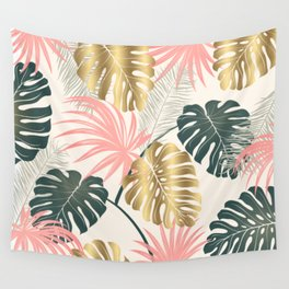 Tropical Print with Gold Wall Tapestry