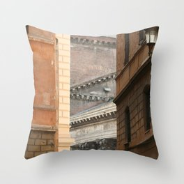 Street View of the Pantheon of Rome Throw Pillow