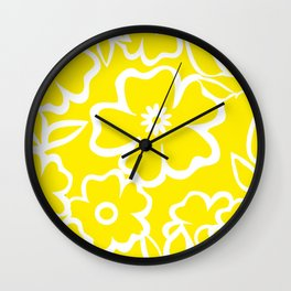 Yellow Flowers Fullfilled Wall Clock