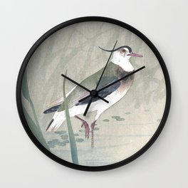 Lapwing Bird and Blue Iris Flower - Vintage Japanese Woodblock Print Art Wall Clock