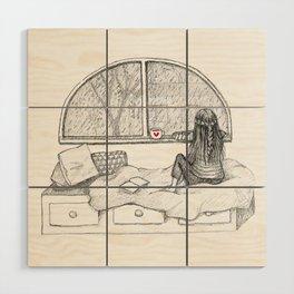 Rainy Day Window pencil illustration Wood Wall Art