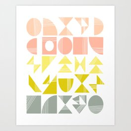 Organic Abstract Shapes in Soft Pastel Colors Art Print