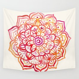 Watercolor Medallion in Sunset Colors Wall Tapestry