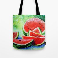 watermelon Tote Bags featuring watermelon by OLHADARCHUK