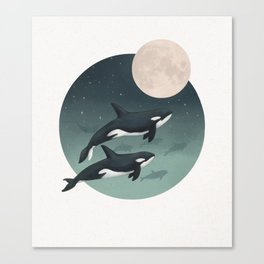 moonlight caravan // orcas Canvas Print