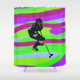 Taking Control- Ice Hockey Player & Puck Shower Curtain