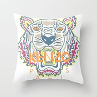 kenzo Throw Pillows featuring KENZO Tiger by cvrcak