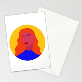 Bold Modern Female Portrait Stationery Cards