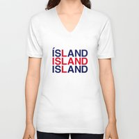 iceland V-neck T-shirts featuring ICELAND by eyesblau