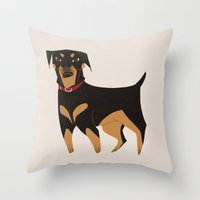 rottweiler Throw Pillows featuring Rottweiler by Reimena Ashel Yee