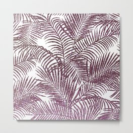 Modern purple pink faux glitter tropical palm tree Metal Print